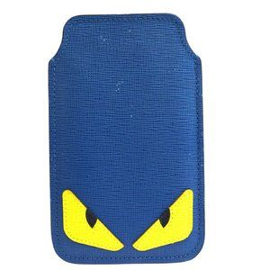 FENDI MONSTER Cell Phone Case iPhone 4 Leather Blu